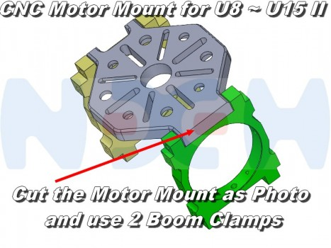 CNC Motor Mount for U8, U15 II with Boom Clamps 25,30,35,40 and 45mm